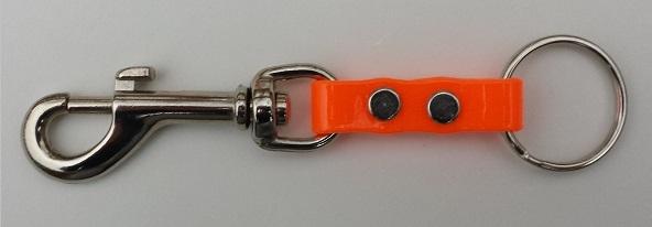An orange belt loop keychain