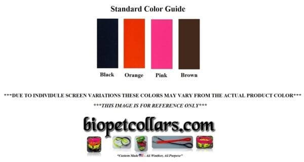 A color guide for the BioThane collars