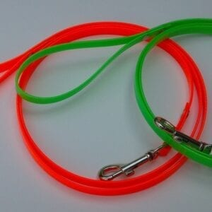 A green and orange leash with handles