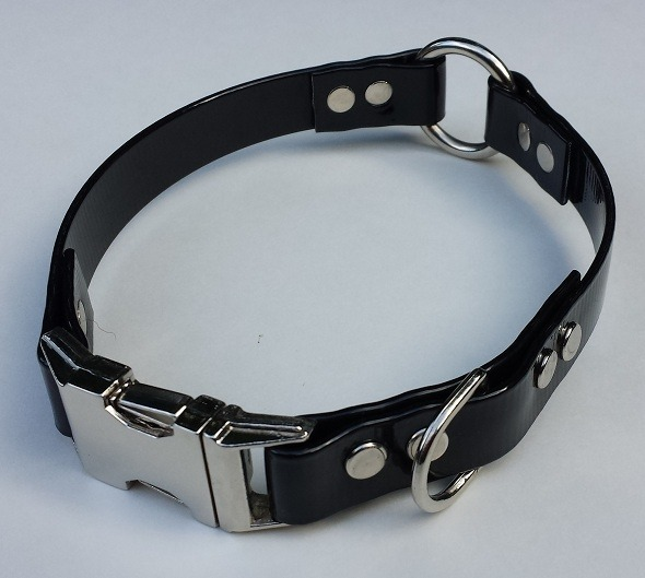 A black BioThane collar with a center ring