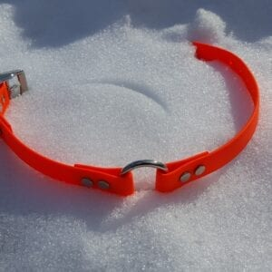 An open orange BioThane collar