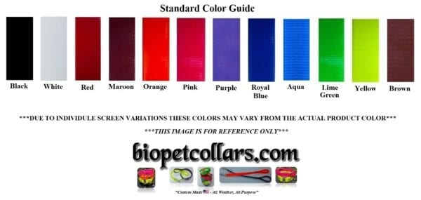 A color guide for the collars