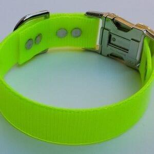 A neon yellow BioThane collar