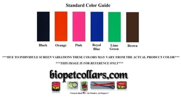 A three quarter inch leash color guide